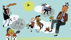 Illustration of musicians playing amongst the clouds