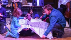 Children creating music with Duncan Chapman in Families@4 concert
